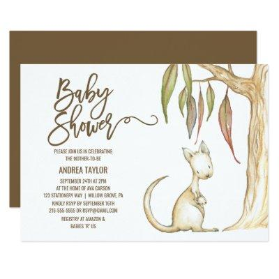 Australian Kangaroo & Joey Neutral Baby Shower Invitation