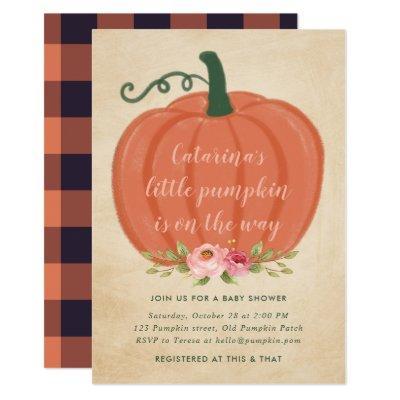 Autumn Baby Shower Boy Little Pumpkin Bufalo Plaid Invitation