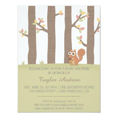 Autumn Fall Forest Squirrel Baby Shower Invitations
