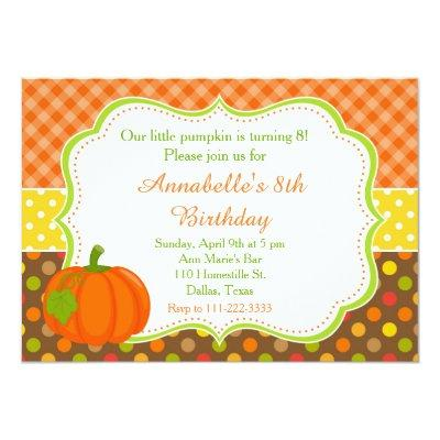 Autumn Fall Pumpkin Birthday Invitations
