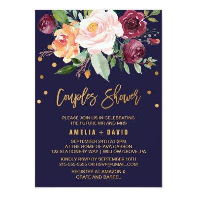 Autumn Floral with Wreath Backing Couples Shower Invitations