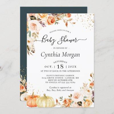 Autumn Flowers Gold Pumpkin Fall Baby Shower Invitation