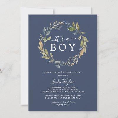 Autumn Greenery | Navy It's A Boy Baby Shower Invitation