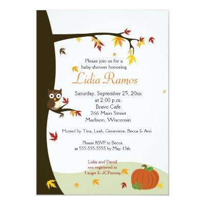 Autumn Halloween Baby Shower Invite