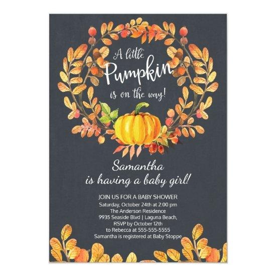 Autumn Little Pumpkin Baby Shower Invitations