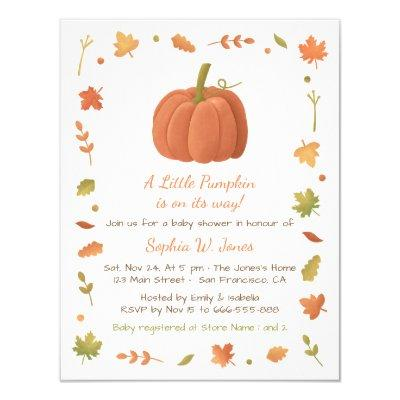 Fall baby shower ideas baby shower invitations baby shower invitations autumn little pumpkin filmwisefo Choice Image