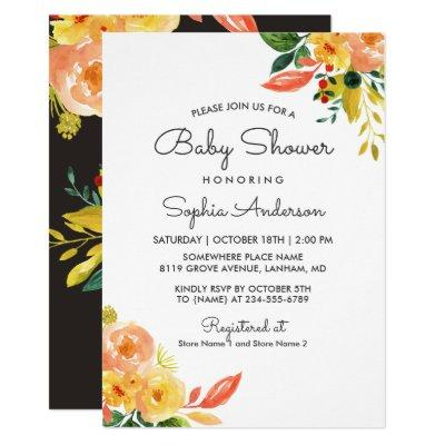 Autumn Peach Floral Adorable Fall Baby Shower Invitations
