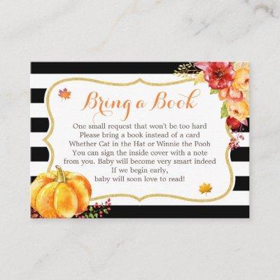Autumn Pumpkin Floral Baby Shower Book Request Enclosure Invitations