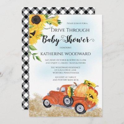 Autumn Pumpkin Truck Drive Through Baby Shower Inv Invitation