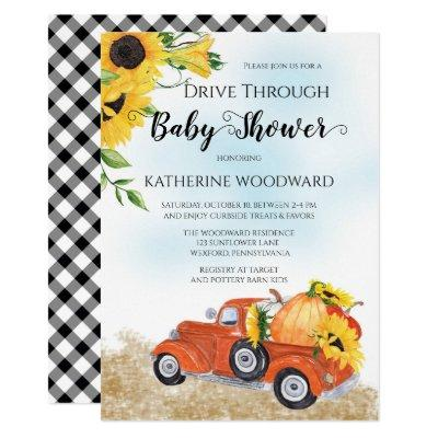 Autumn Pumpkin Truck Drive Through Baby Shower Invitation