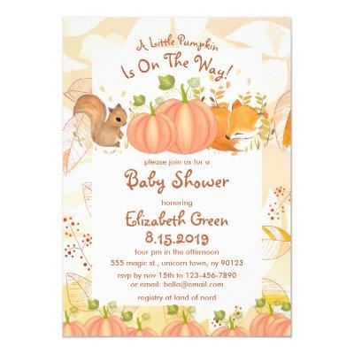 Autumn Pumpkin Woodland Baby Shower Invitations
