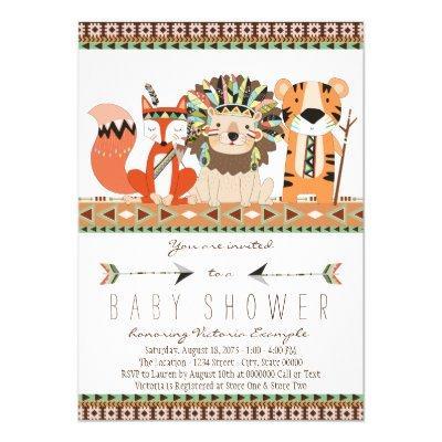 Aztec Tribal Fox Lion Tiger Invitations