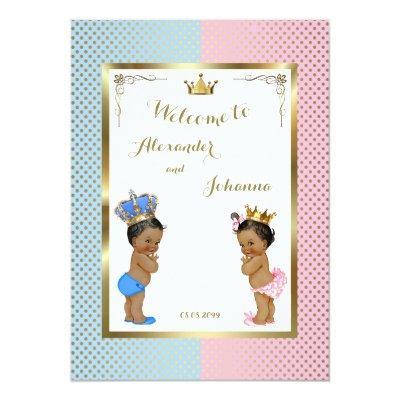 Babies Shower TWINS,pink blue,elegant backgrd Invitations