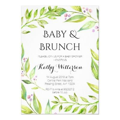 Baby and Brunch Botanical Shower Invitation