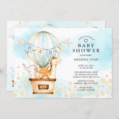 Baby Animals Hot Air Balloon Baby Boy Shower Invitation