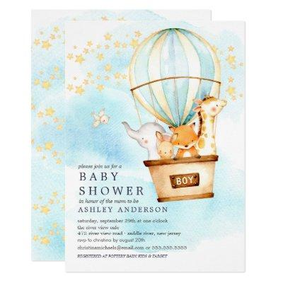 Baby Animals Hot Air Balloon Ride Baby Boy Shower Invitations