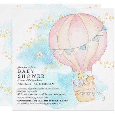 Baby Animals Hot Air Balloon Ride Baby Girl Shower Invitation