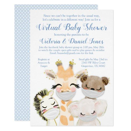 Baby Animals Mask Virtual Baby Shower Invitation