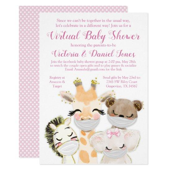 Baby Animals with Mask Virtual Baby Shower Invitation