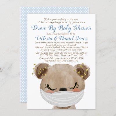Baby Bear with Mask Drive By Baby Shower Invitation