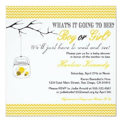 Baby Bee Shower Invitations Gender neutral reveal