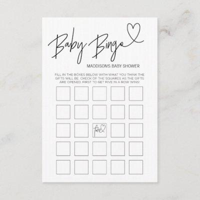 Baby Bingo Baby Shower Game Card Black and White