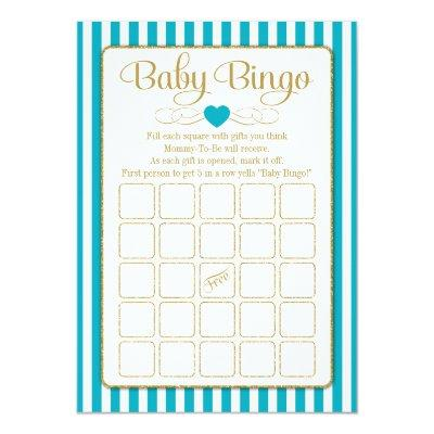 Baby Bingo Turquoise Gold Baby Shower Game Cards
