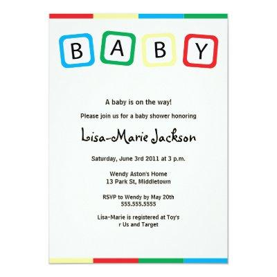 Baby Blocks Baby Shower Invitation - Boy or Girl
