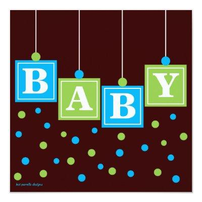 BABY Blocks Blue Green Boy Couples Invitations