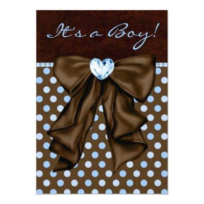 Baby Blue and Brown Invitations