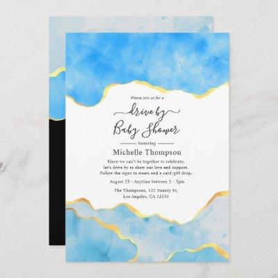 Baby Blue and Gold Agate Drive By Shower Invitation
