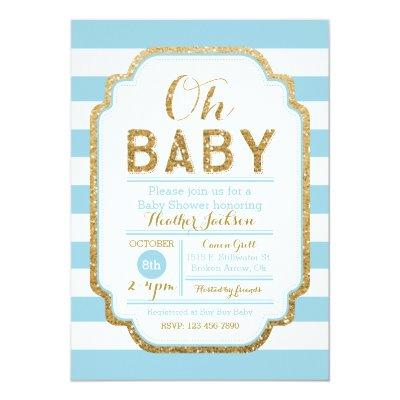 Baby Blue And Gold Baby Shower Invitation, Boy Invitation