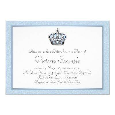 Baby Blue and White Prince Baby Shower Invitation