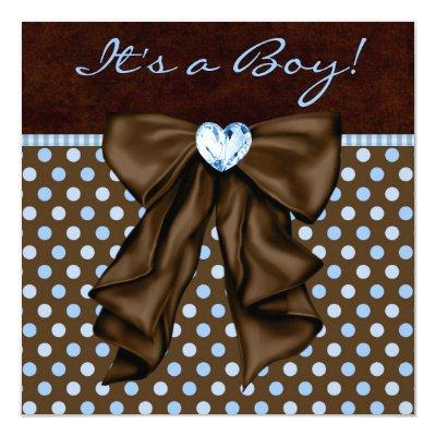Baby Blue Brown Baby Boy Shower Invitations