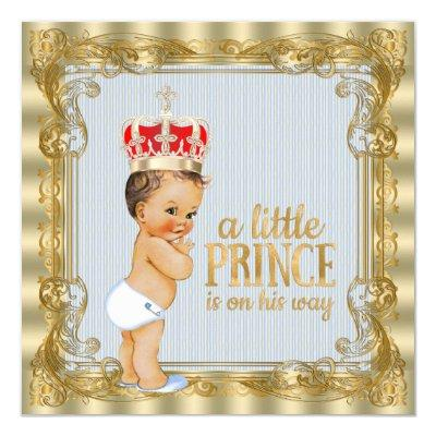Baby Blue Gold Royal Prince Baby Shower Invitation