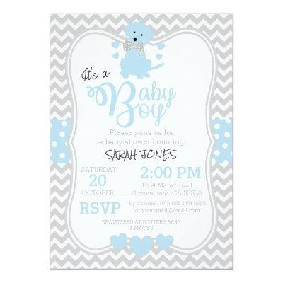 Baby Blue Puppy Baby Shower Invitation