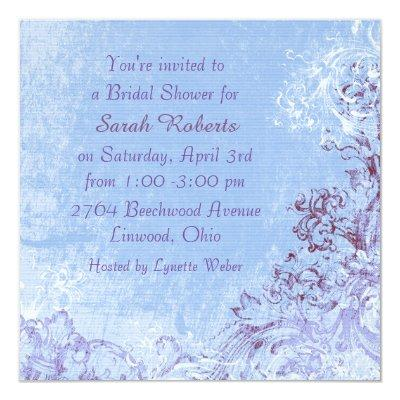 Baby Blue Violet Swirl Bridal Shower Invitations