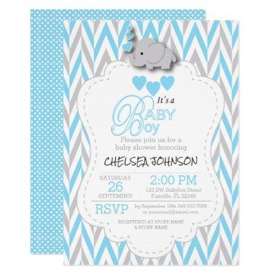 Baby Blue, White Gray Elephant Baby Shower 2 Invitation