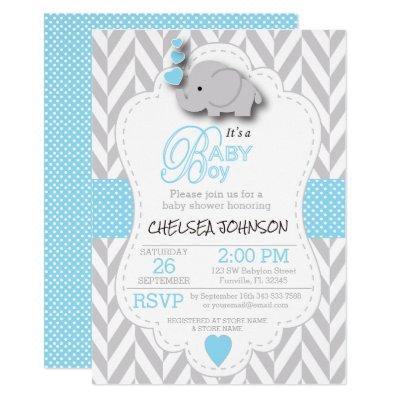 Baby Blue, White Gray Elephant  Baby Shower Invitation
