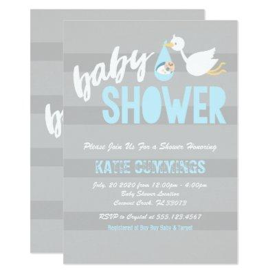 Baby Blue with a Stork Baby Shower Invitations