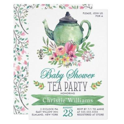Baby Boy Baby Shower Tea Party Floral Watercolor Invitation