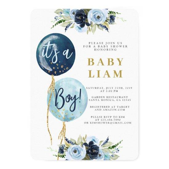 Baby boy balloon shower invitation
