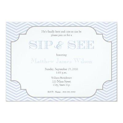 Baby Boy Blue Chevron Sip and See Invitation