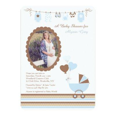 Baby Boy Cameo Photo Shower Invitation