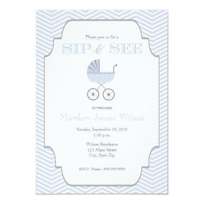 Baby Boy Chevron Sip and See Invitation