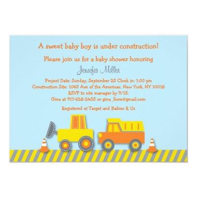 Baby Boy Construction Truck Invitations