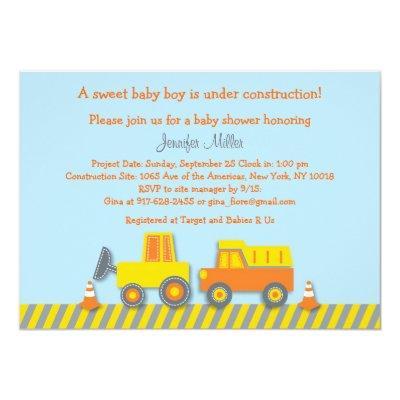 Baby Boy Construction Truck Invitations