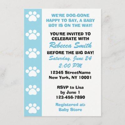 Baby Boy - Dog Themed Baby Shower Invitations