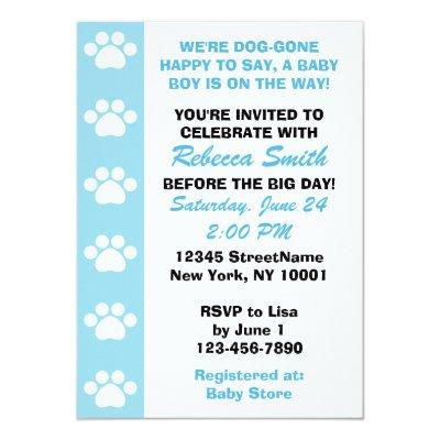 Baby Boy - Dog Themed Baby Shower Invitations