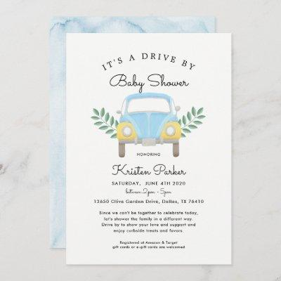 Baby Boy Drive By Baby Shower Invitation
